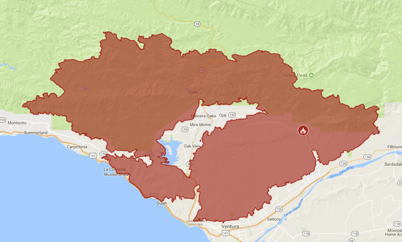 A Caltrans map showing the Thomas Fire completely surrounding the town of Ojai.
