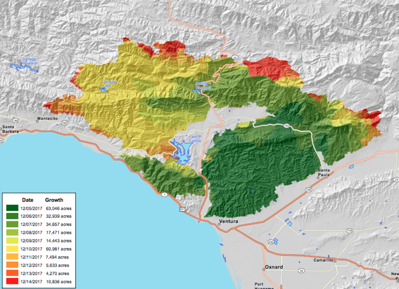 CalFire's Dec. 15 progression map of the Thomas Fire.