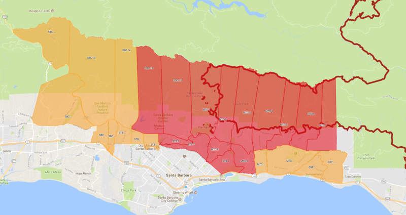 The Santa Barbara County Office of Emergency Services created this interactive map showing the fire line (bold red) and evacuation areas in Santa Barbara. This is a screenshot of the map on the evening of Dec. 19.