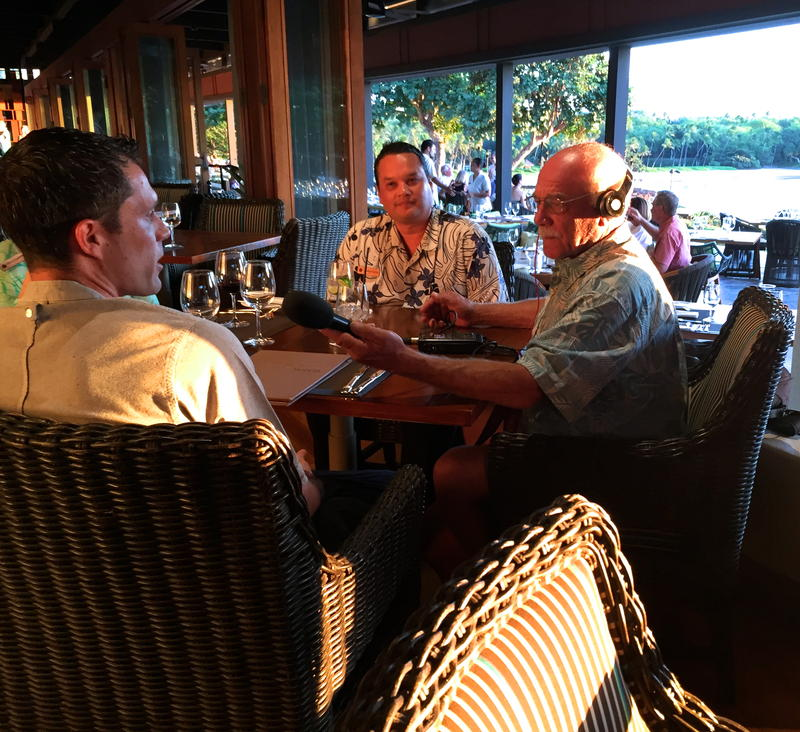 Manta Restaurant Executive Sous Chef Rio Miceli (Left) and Wendle Lesher (Center) Director of Food and Beverage at Mauna Kea Resort talk with correspondent Tom Wilmer