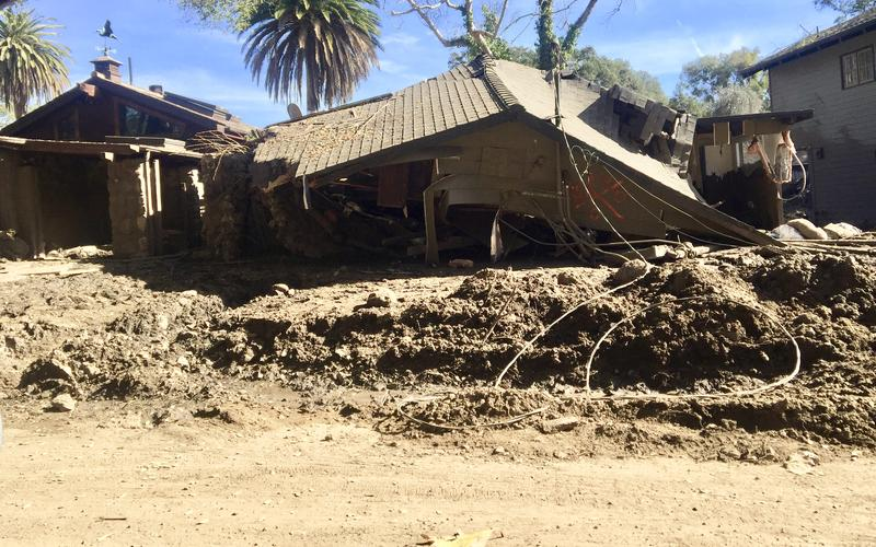 A Montecito home wrecked by the Jan. 9 debris flows.