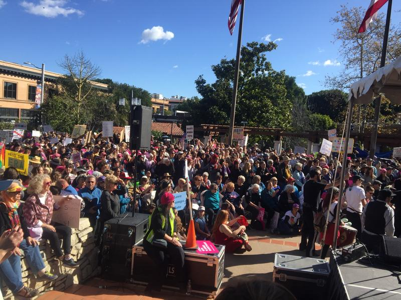 As the rally started at 1 p.m., people packed into Mission Plaza.