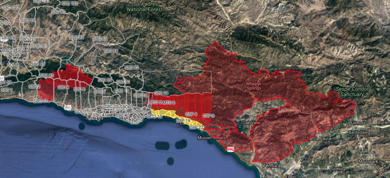 An interactive map showing areas (in red) under evacuation orders as of Sunday night.
