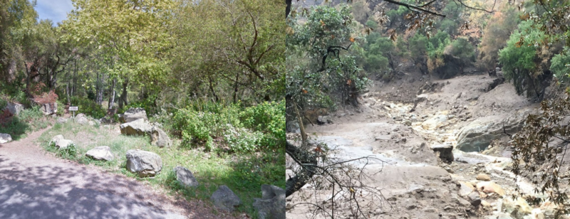 Before and after pictures of the Cold Springs Trailhead in northern Santa Barbara.