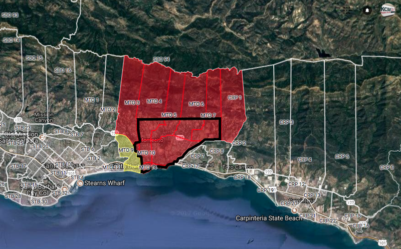 A screenshot of the mandatory evacuation orders remaining in effect in areas of Montecito, as of 01/14/18.
