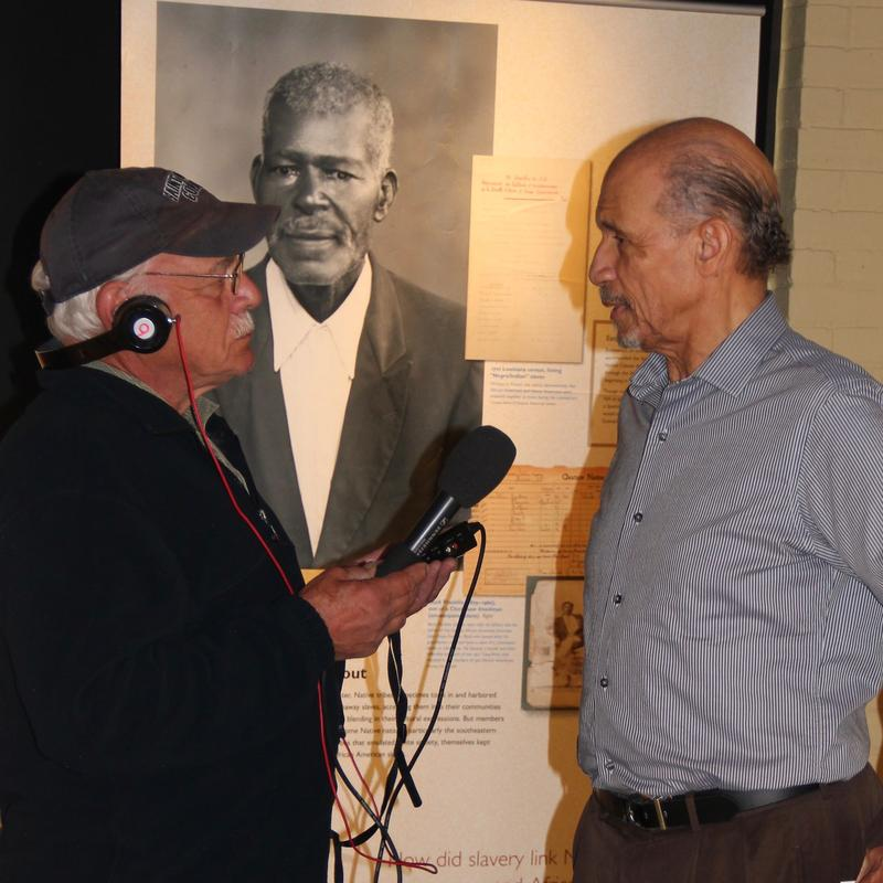 Dr. Charles Price (right), President of the Harrison Museum of African American Culture in Roanoke, VA visits with  correspondent Tom Wilmer