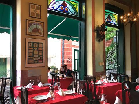 Inside Paladar Los Mercaderes, a family-owned farm-to-table restaurant in Old Havana, Cuba