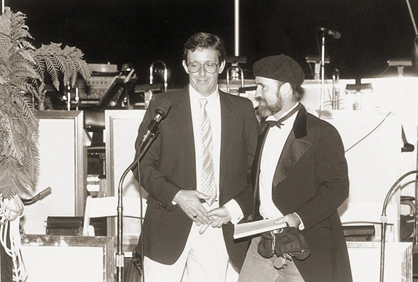 Archie McLaren (right) with KCBX general manager Frank Lanzone in 1986.