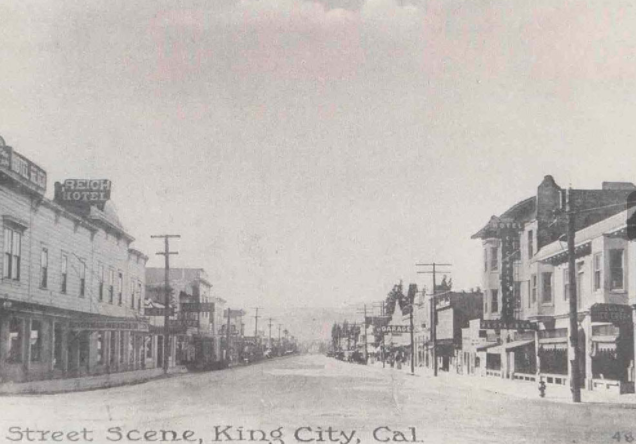 A historic photo of downtown in the days when train transportation was king in King City.