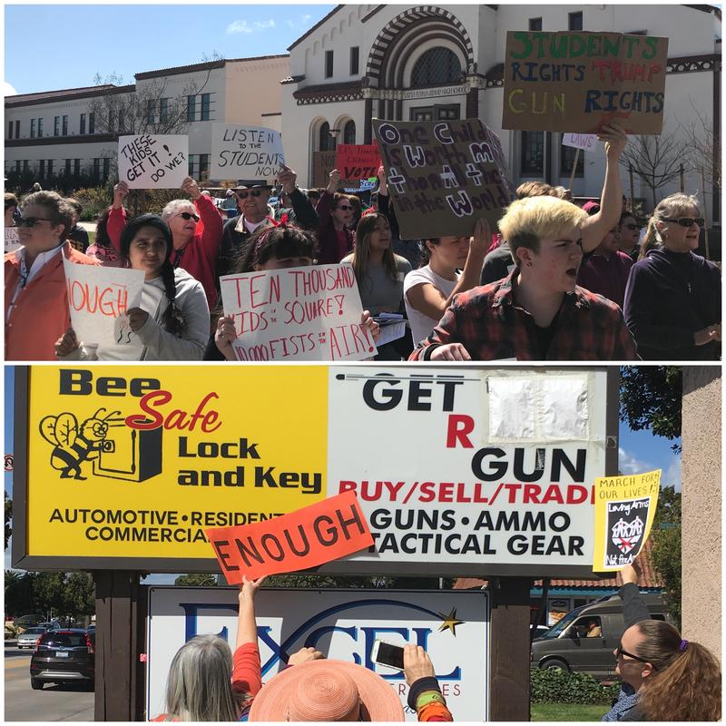 Protestors at a gun store in Santa Maria.