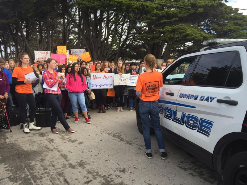 Morro Bay High School students rallying during the National School Walkout on March 14, 2018.