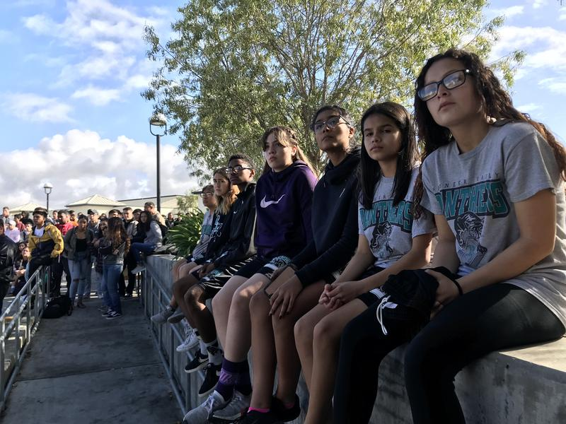 Students at Santa Maria's Pioneer Valley High School gather in the school's quad for the #NationalSchoolWalkout event.