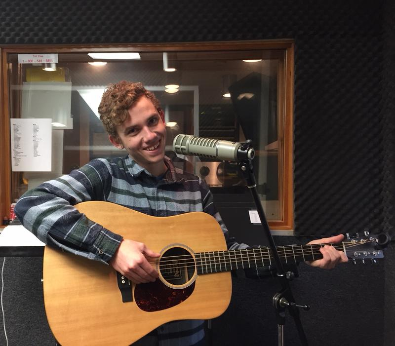 Mission College Prep student Cayden Wemple performs in the KCBX studios in San Luis Obispo