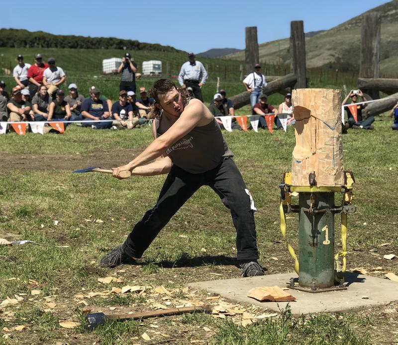 Will Kraemer competes in the vertical chop of the Stihl Series at Cal Poly
