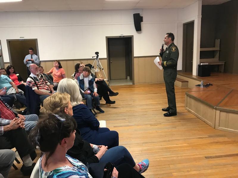 San Luis Obispo County Sheriff Ian Parkinson addressing a town hall in Santa Margarita on Wednesday.