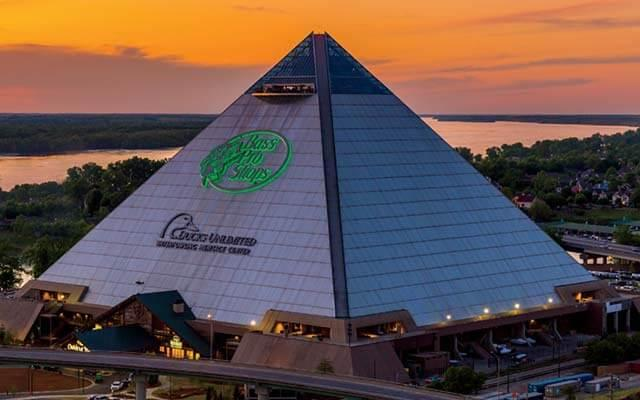 Bass Pro Shops Outdoor World in downtown Memphis, Tennessee is housed in a half-million square-foot 28-story pyramid fronting on the Mississippi River.