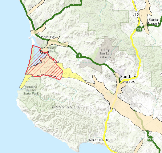 A detail from San Luis Obispo County Public Works' interactive data map showing the Los Osos Basin in red and the fringe areas in yellow.