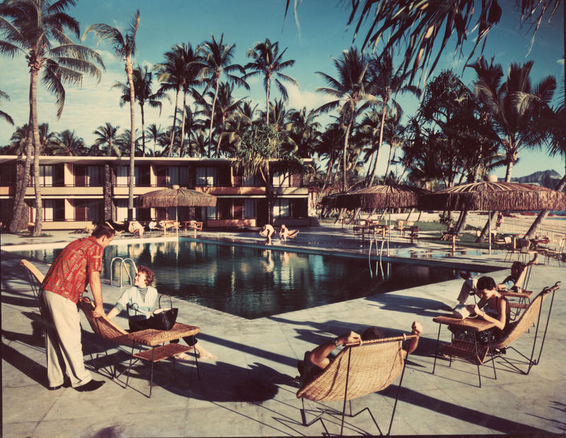 1958 poolside at the Hilton Hawaiian Village