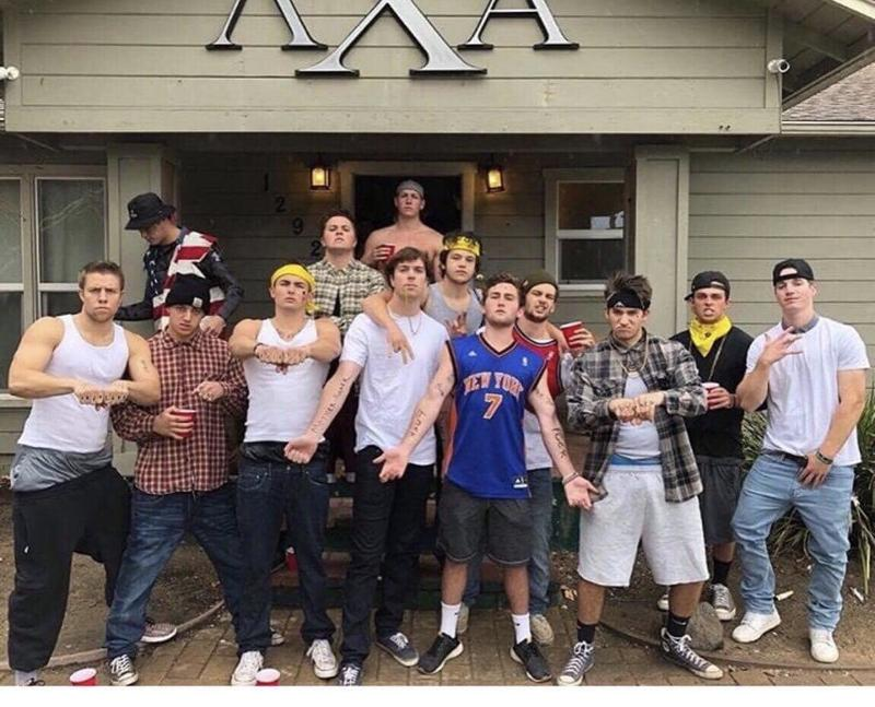 The Cal Poly Lambda Chi Alpha chapter on Saturday in front of their fraternity house.