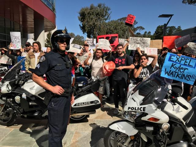 Cal Poly students protesting recent racially-insensitive incidents.