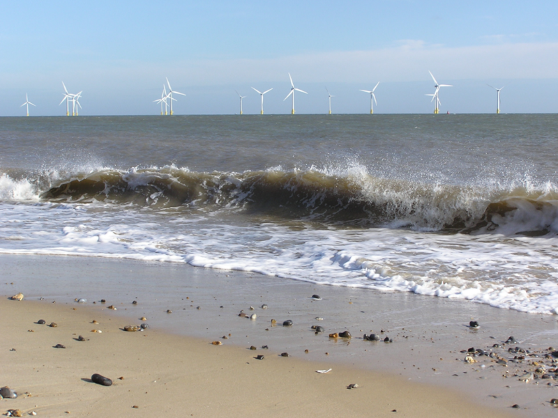 An offshore wind farm located 1.6 miles off England's east coast.