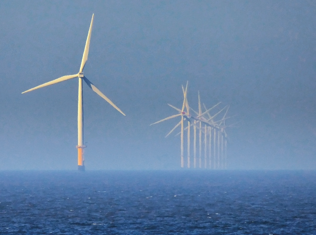 The Rhyl Flats Offshore Wind Farm, five miles off the coast of Wales.