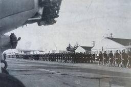 Hancock Field. Army Air Forces Cadets on parade at Hancock Field, on the site of today's Hancock College. Nearly 9,000 cadets would receive primary flight training here during World War II.