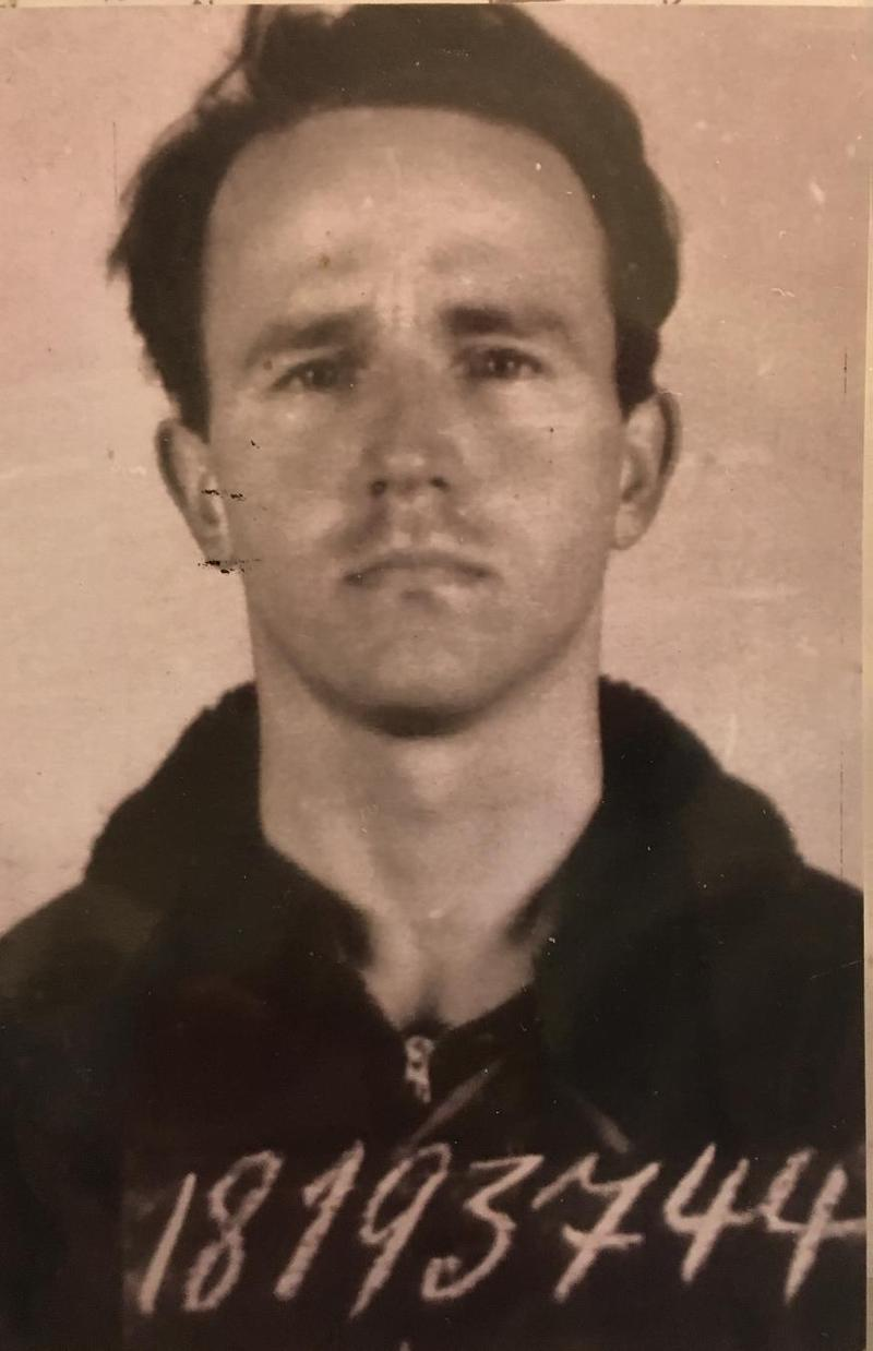 POW photograph of Albert Lee Findley Jr. of Los Osos, a B-24 radioman who now lives in Los Osos. Findley was shot down in February 1945 and was liberated by George Patton's Third Army in April. Courtesy of Albert Lee Findley Jr.