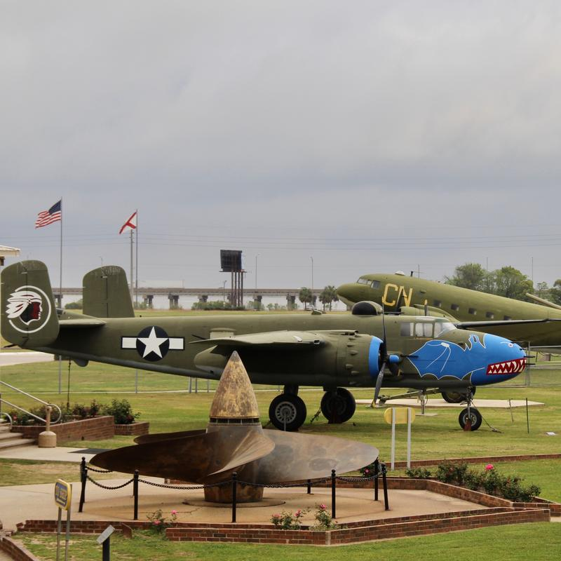B-25 Mitchell bomber in foreground with C-47 Sky Train