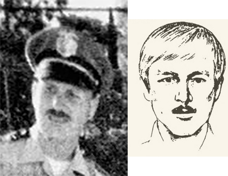 A photograph of accused Golden State Killer Joseph DeAngelo when he was with the Exeter PD, and a 1970s sketch of the killer.