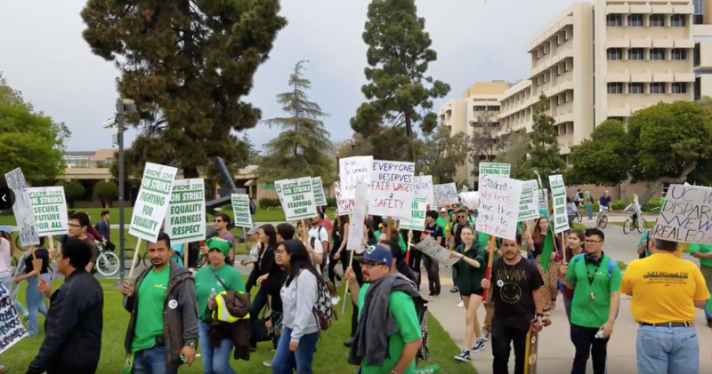 Workers and students join the picket line at UCSB on Monday afternoon.