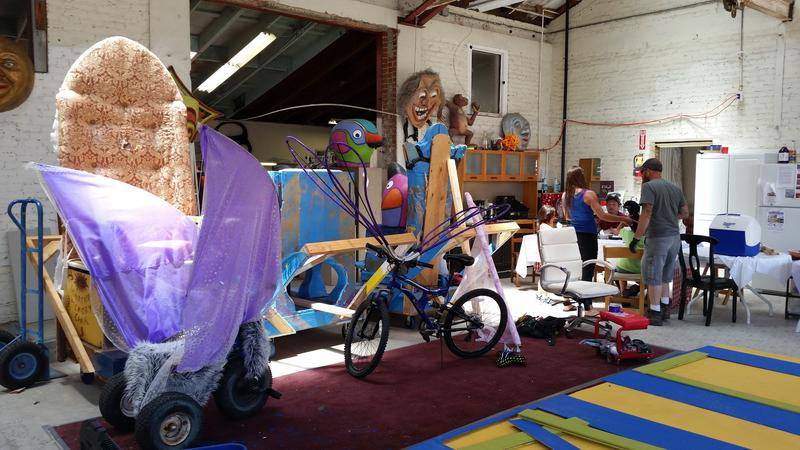 The many pieces of a float come together for the upcoming Santa Barbara Soltice Parade