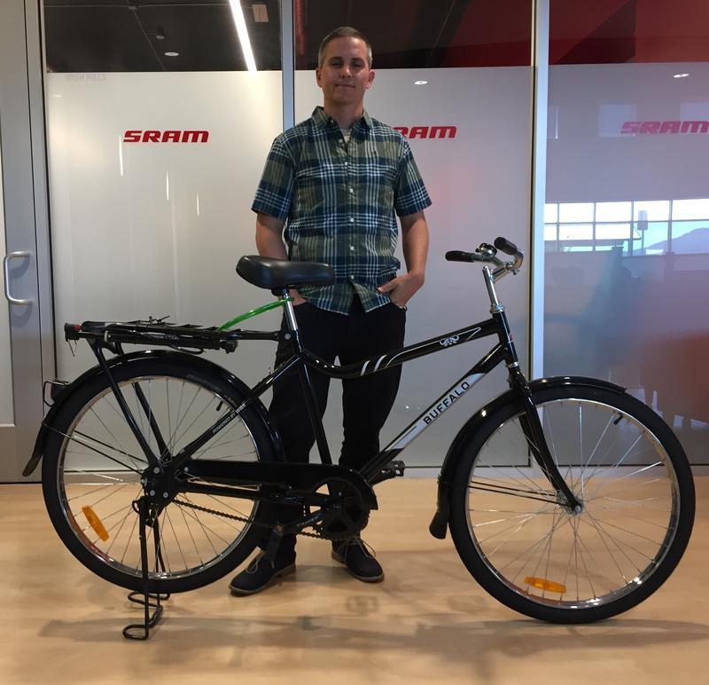 Will King shows a Buffalo Bike on display at SRAM's R&D facility in San Luis Obispo, California.