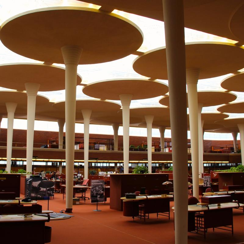Interior of SC Johnson headquarters in Racine, Wisconsin opened in 1939 designed by Frank Lloyd Wright