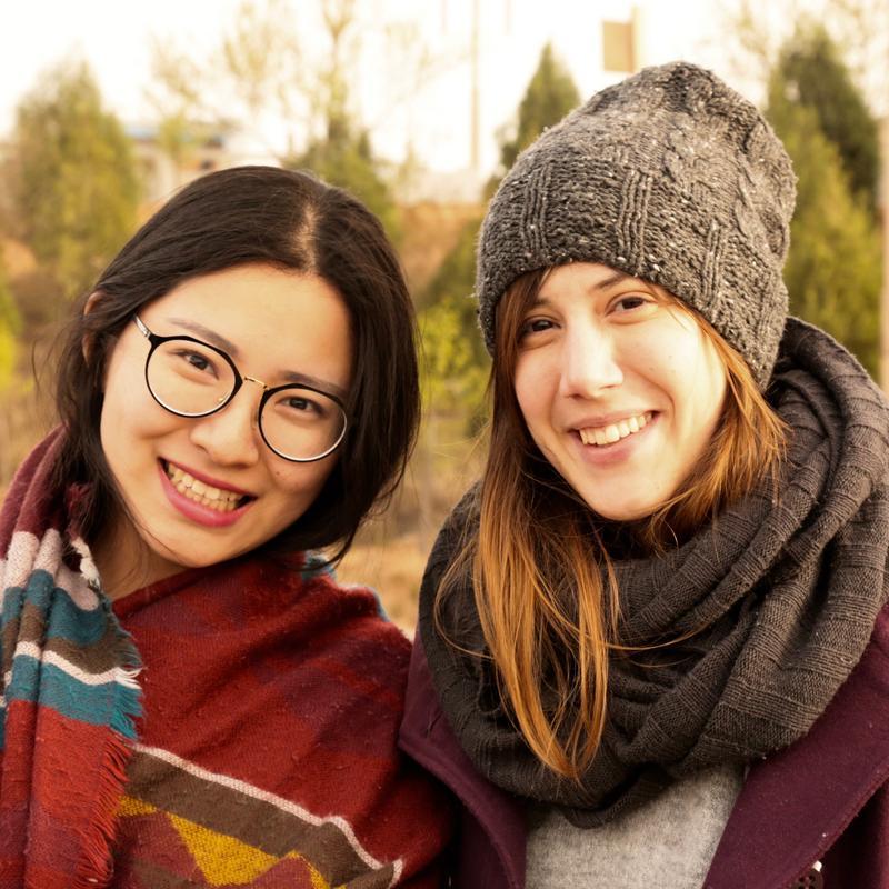 Dan Wang (left) with her friend Ana Mitrović