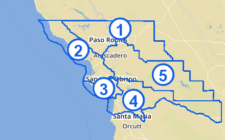 A map of the San Luis Obispo County districts.