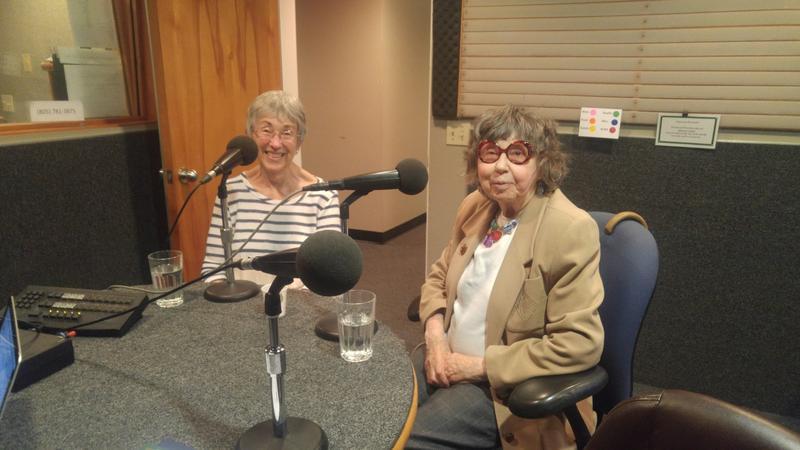 SLO Village members Kay Emmons and Elizabeth Abrahams at the KCBX studios