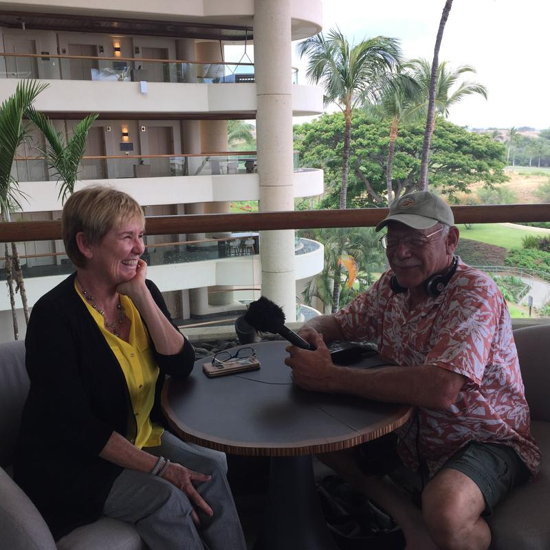 Vickie Kometani visits with correspondent Tom WIlmer at the Westin Hapuna Beach Resort.