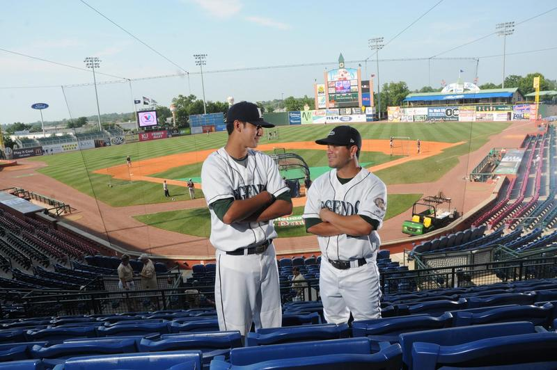 Shortstop Jiovanni Mier and second baseman Jose Altruve in the stands at Applebee Park, Lexington, Kentucky.