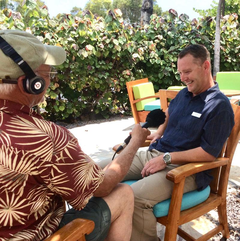 Simon Amos Hotel Manager at Hilton Waikoloa Village on the Big Island of Hawaii visits with correspondent Tom Wilmer