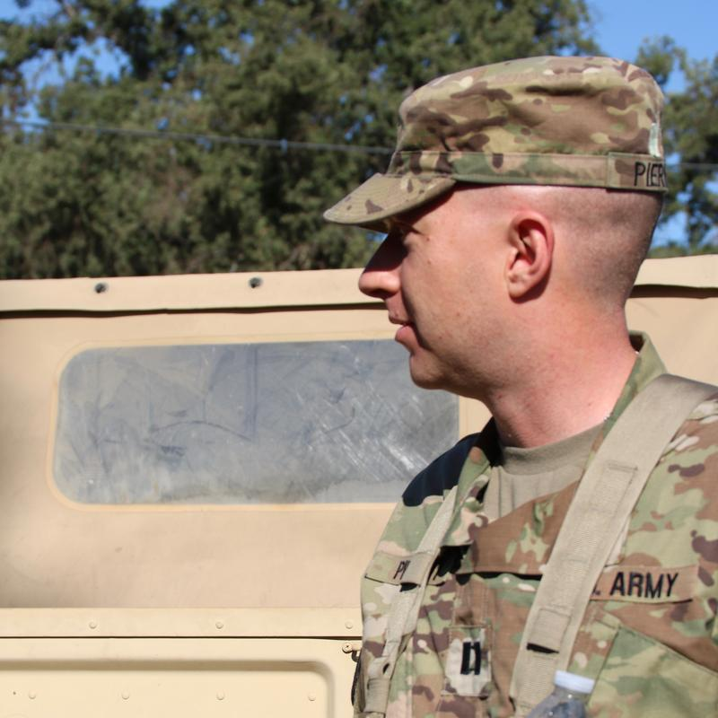 Captain Piernicky Army Reserve observes field exercise at Fort Hunter Liggett