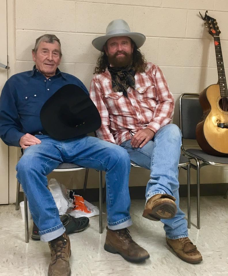 Mike Beck (right) visiting with fellow musician Ian Tyson (left).