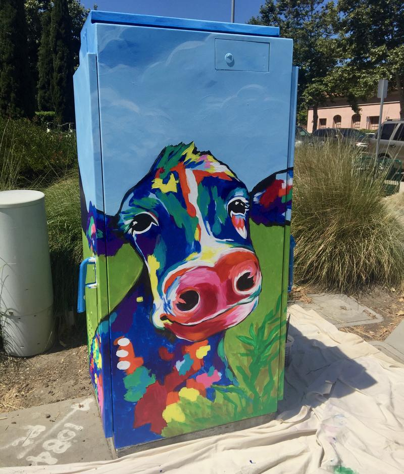 Beeman's art covers a utility box at the Irish Hills Plaza.
