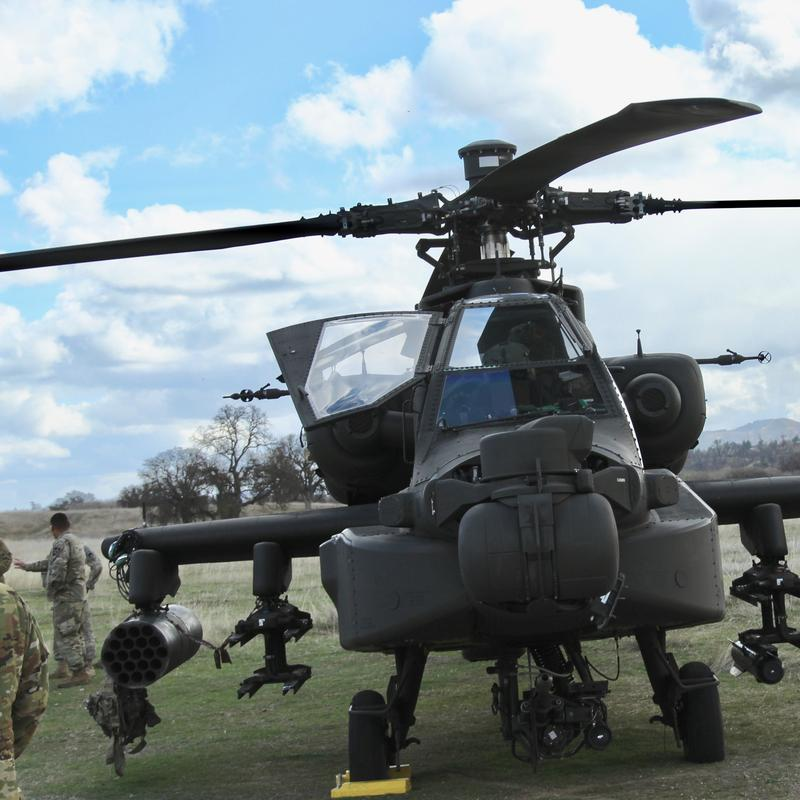 An Apache helicopter attached to the 7th Infantry Division training at Fort Hunter Liggett.
