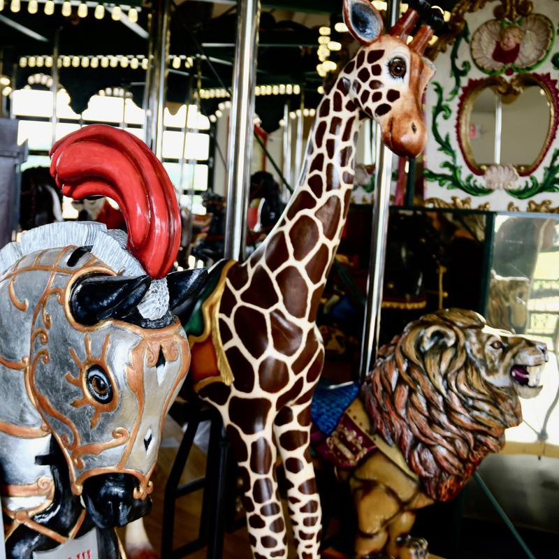 Hand-carved carousel animals were crafted by local artists in Kingsport, Tennessee.
