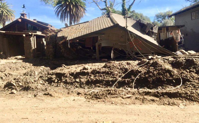 A Montecito home destroyed in the January 9, 2018 debris flow.