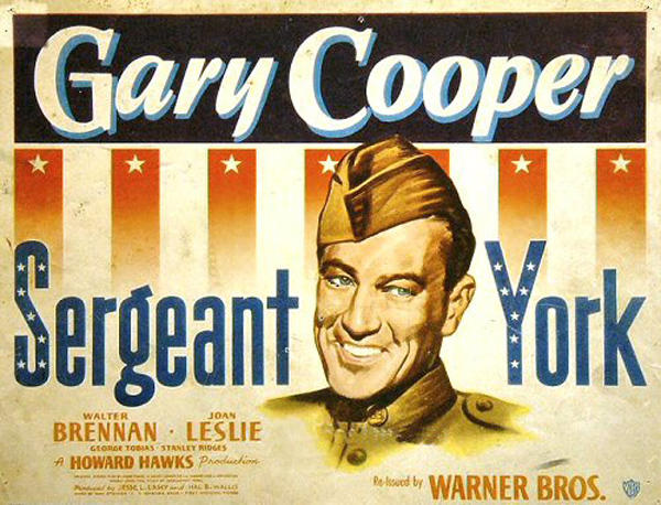 Hollywood movie poster promoting the 1941 Sergeant York movie starring Gary Cooper.