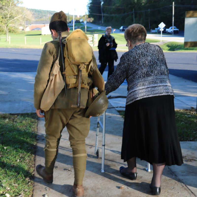 Betsy Ross York-Lowery with a WW1 reenacto.r