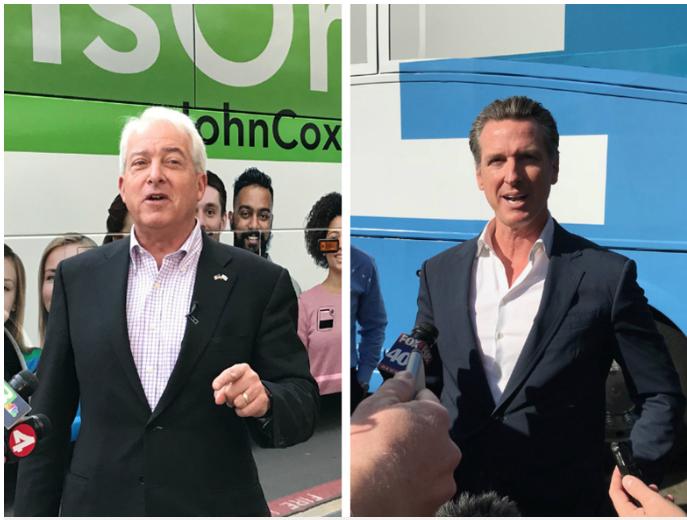 John Cox (left) and Gavin Newsom.