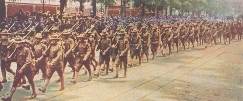 WW1 troops marching off to war.